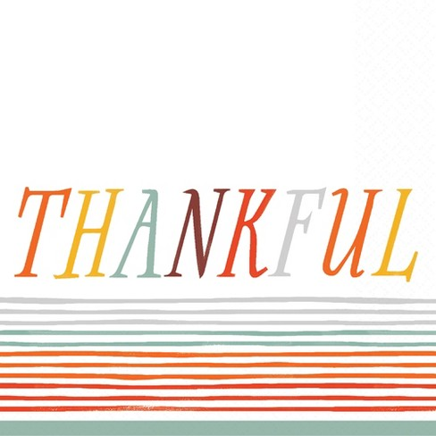 "2ply 30ct ""Thankful"" Disposable Beverage Napkins - Spritz™ - image 1 of 1"