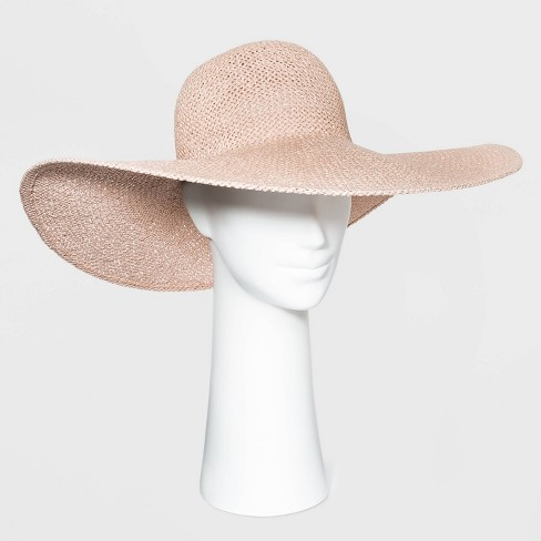 Women's Wide Brim Open Weave Straw Floppy Hat - A New Day™ Blush Pink - image 1 of 1