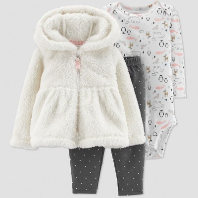 Baby Girls' 3pc Sherpa Jacket Cardigan Set - Just One You® made by carter's White 18M