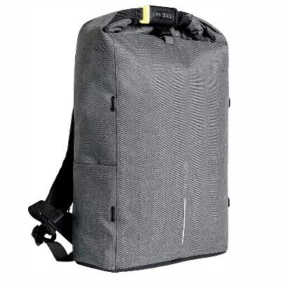 XD Design Bobby Urban Lite Anti Theft Laptop Travel Backpack with Shoulder Strap, Detachable Elastic Net, Bottle Holder, and RFID Protection, Grey