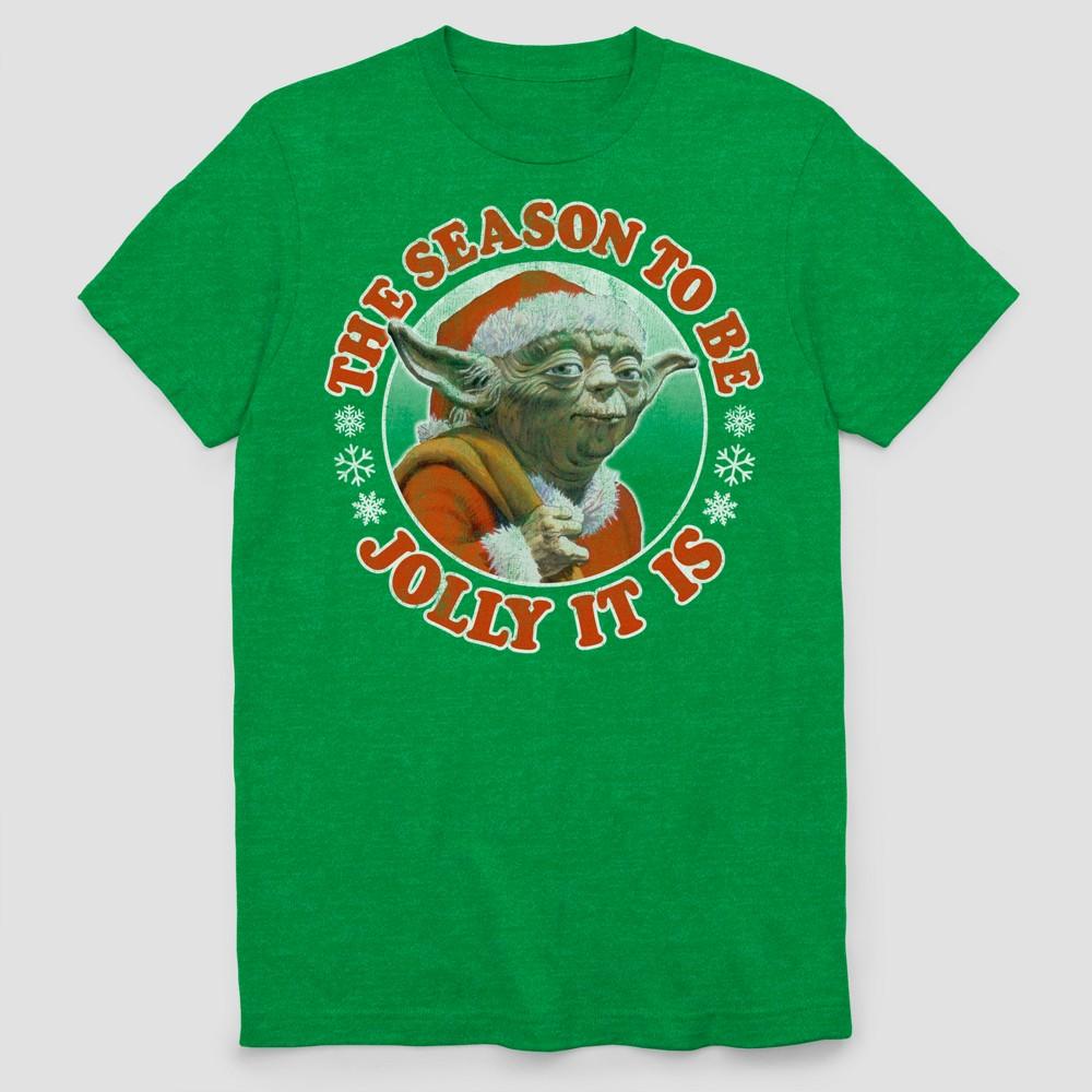 Men's Big & Tall Short Sleeve Star Wars Ugly Holiday Jolly Yoda T-Shirt - Green Heather 2XBT