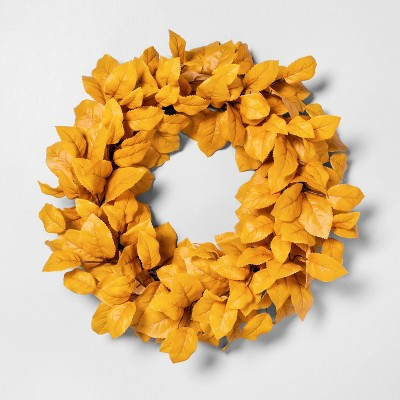 "24"" Faux Golden Aspen Leaves Wreath - Hearth & Hand™ with Magnolia"