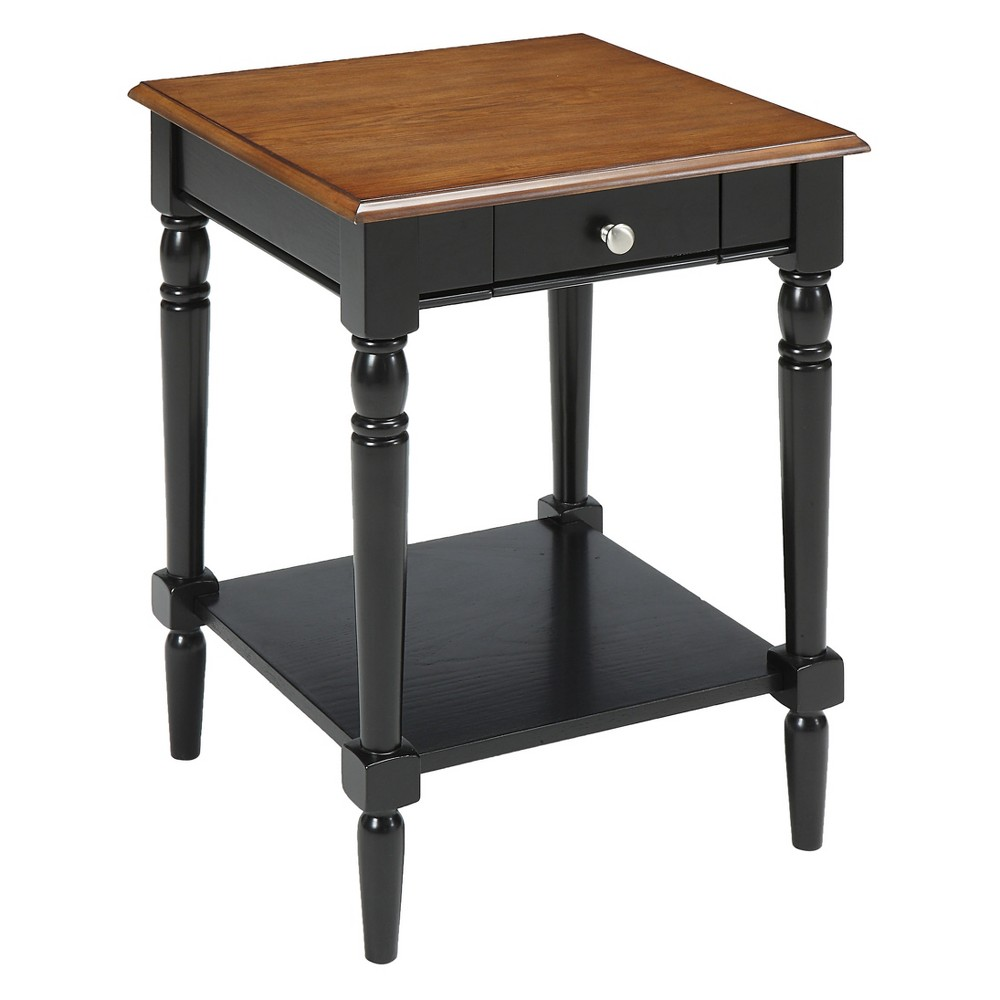 Johar Furniture French Country with Drawer and Shelf End Table Dark Walnut/Black