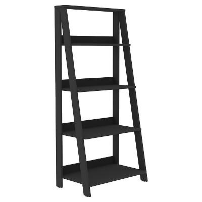 55  Wood Ladder Bookshelf, Black - Saracina Home