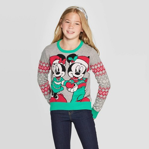 Girls' Disney Mickey and Minnie Ugly Christmas Sweater - Gray - image 1 of 3