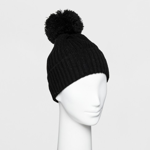 Women s Ribbed Cuff Pom Beanie - A New Day™   Target 4675cfa0dd8