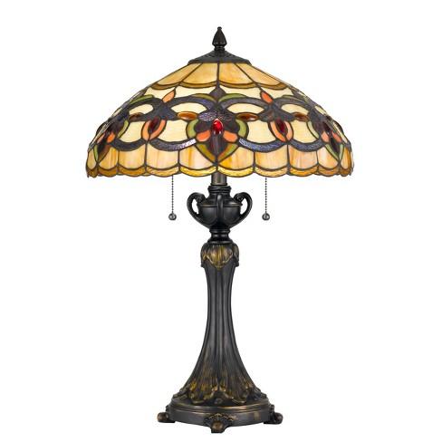 60W X 2 Tiffany Table Lamp Brown/Yellow  - Cal Lighting - image 1 of 2