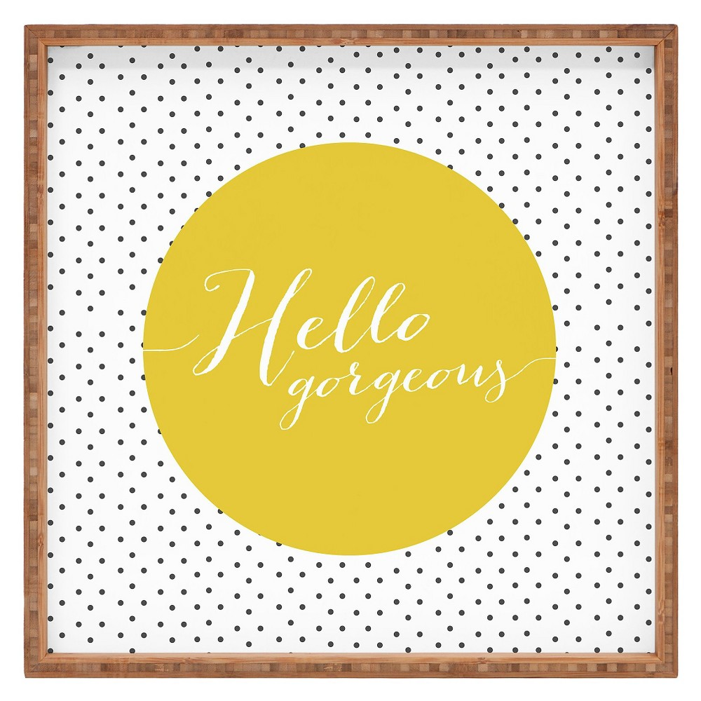 Allyson Johnson Hello Gorgeous Square Tray - Yellow - Deny Designs, Antique Gold