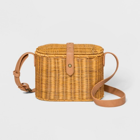 Rattan Box Crossbody Bag - Universal Thread™ Natural - image 1 of 9