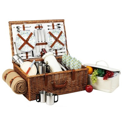 Picnic at Ascot Dorset English- Style Willow Picnic Basket with Service for 4, Coffee Set and Blanket - Gazebo