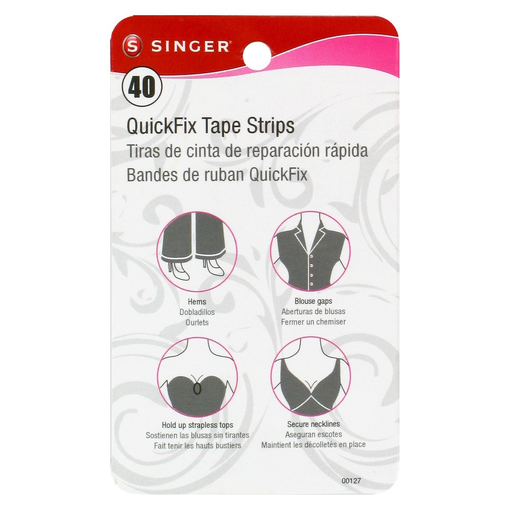 Singer 40ct Quick Fix Tape Strips Avoid fashion mishaps with Singer, 40ct, Quick Fix Tape Strips. Use these handy adhesive tape strips to fix fallen hems, seal up blouse gaps, hold up strapless tops and secure necklines. This handy, double-sided body tape will take care of the fine details so you can rest assured you always look your best.