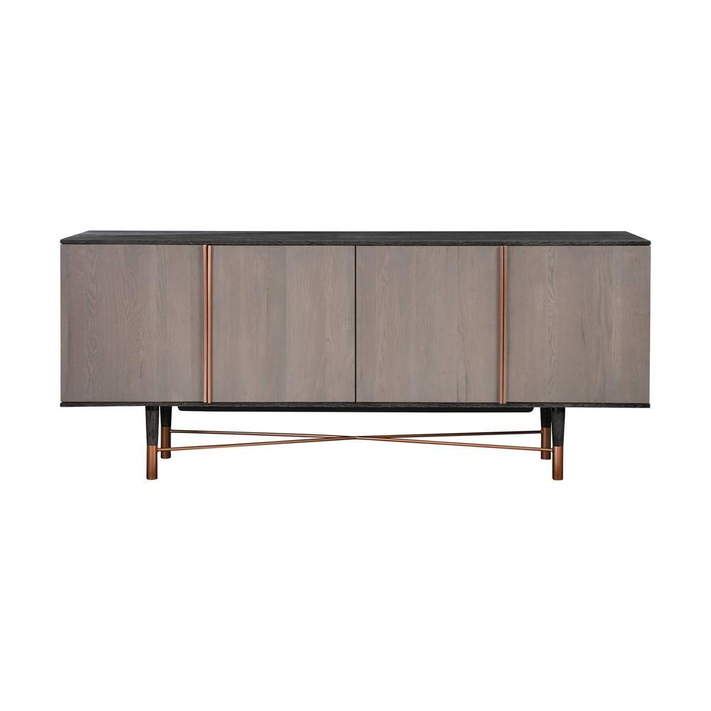 Turin Sideboard Cabinet Rustic Oak Copper Accent Armen Living