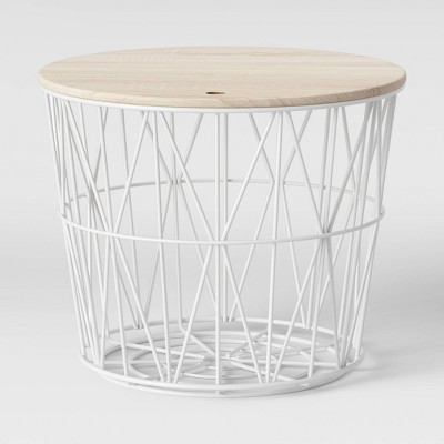 Wire Storage Table with Removable Lid White - Room Essentials™
