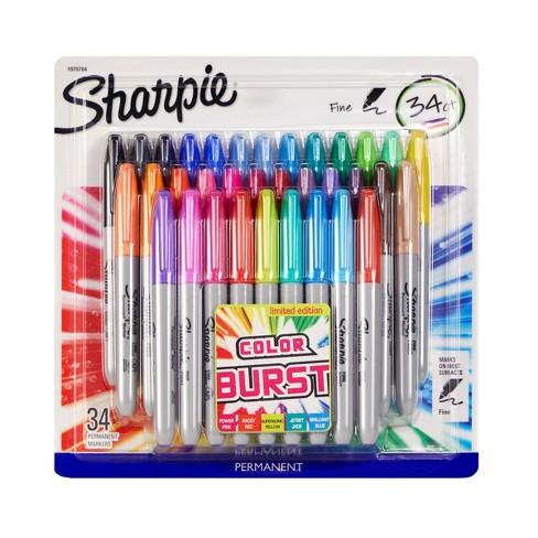 34pk Permanent Marker Fine Tip Multicolor - Sharpie - image 1 of 4