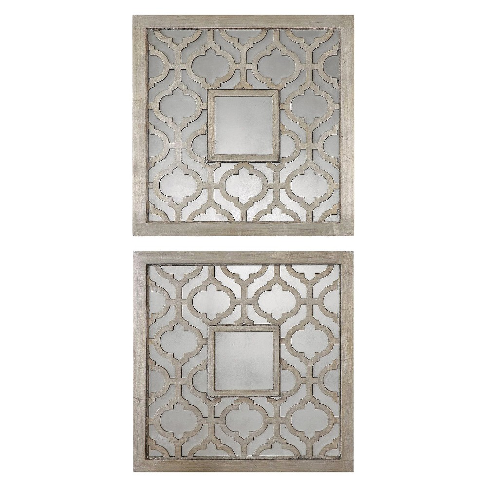 Image of Square Sorbolo Mirror Set of 2 Silver - Uttermost