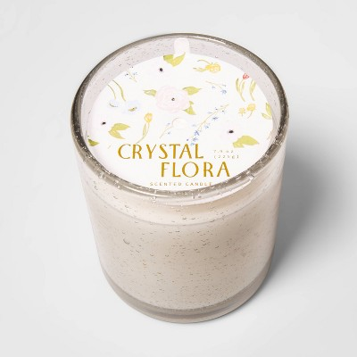 7.9oz Colored Glass Jar Candle Crystal Flora - Opalhouse™