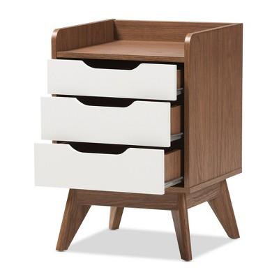 Brighton Mid - Century Modern Wood 3 - Drawer Storage Nightstand - Brown - Baxton Studio : Target