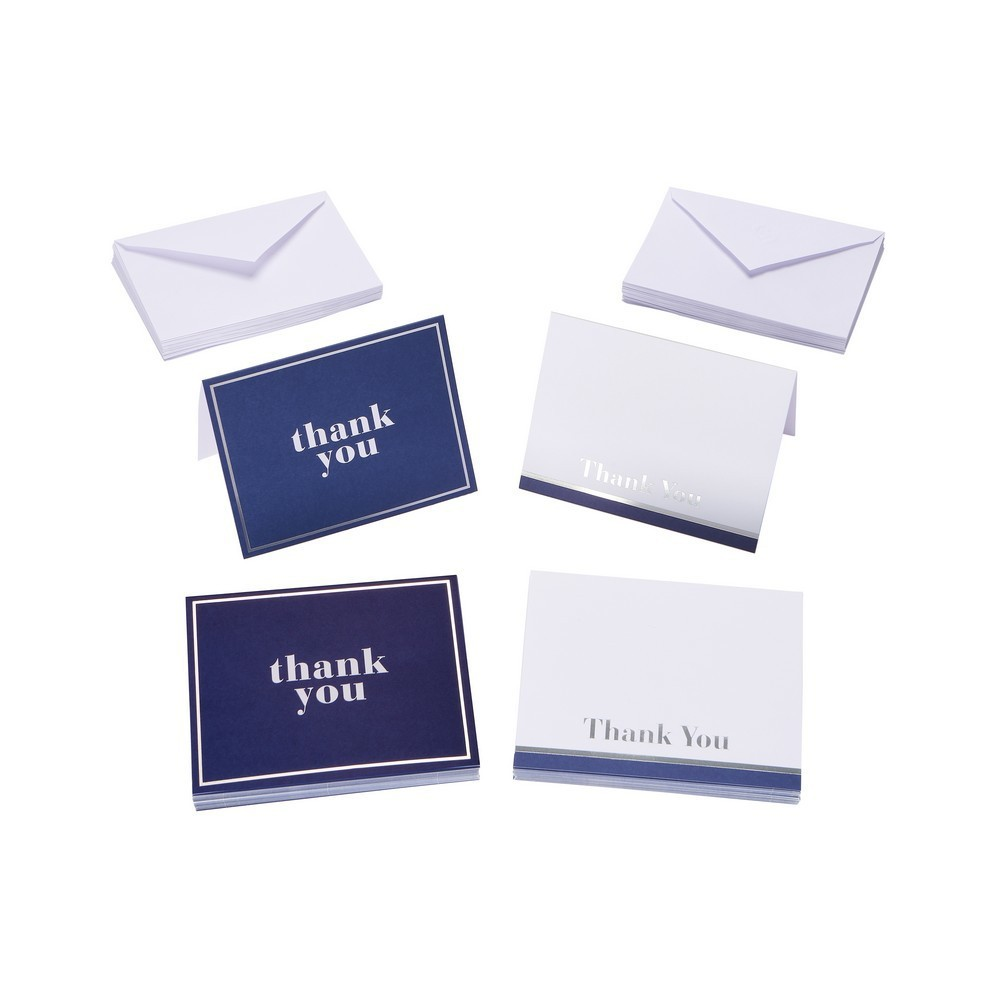 50ct Blue And White Thank You Cards And Envelopes, Multi-Colored
