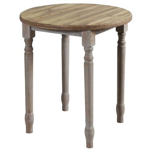 Quail Farm Round Wooden Spool Table Gray Stylecraft
