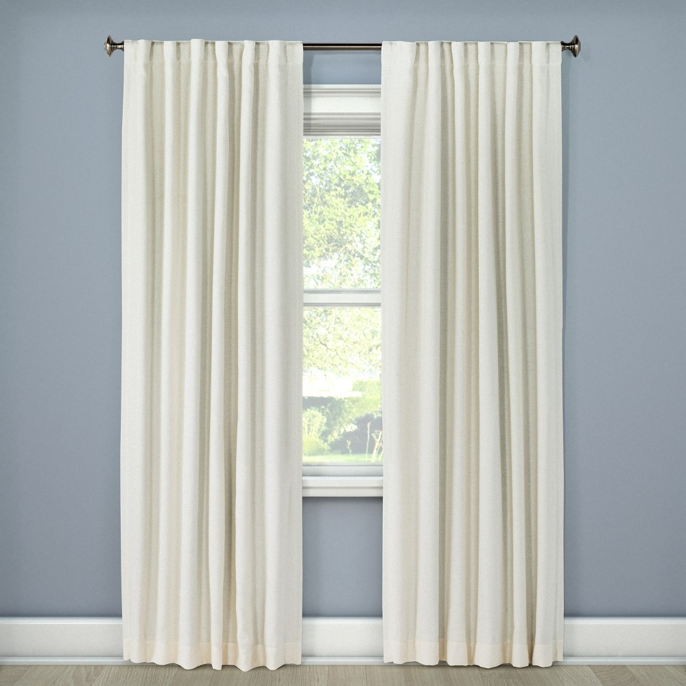 Linen Look Light blocking Curtain Panel Cream (Ivory) (50
