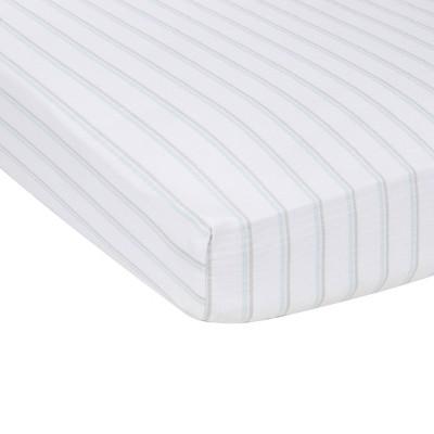 MiracleWare Muslin Crib Sheet Blue Stripe