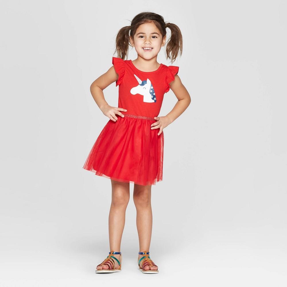 Toddler Girls' 'Unicorn' A Line Dress - Cat & Jack Red 4T