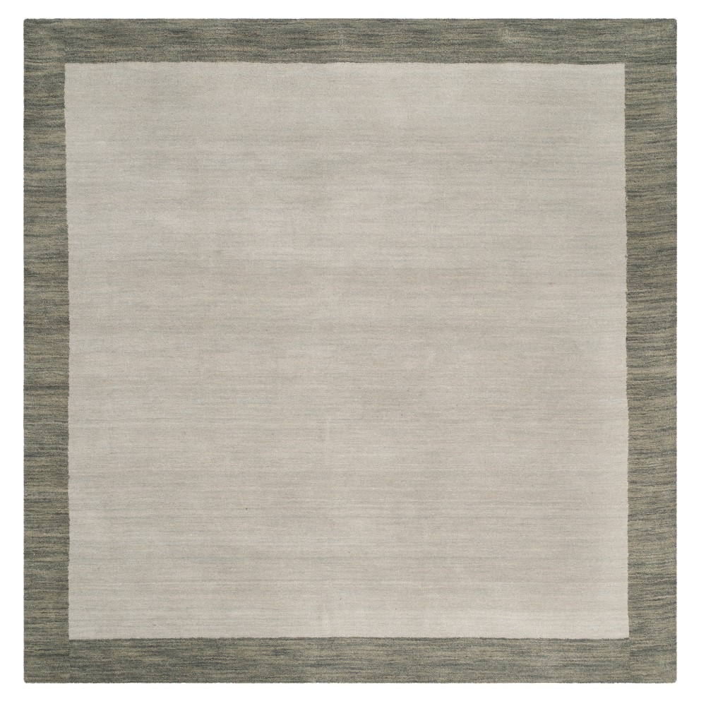 Gray Solid Loomed Square Area Rug 8x8 Safavieh Light