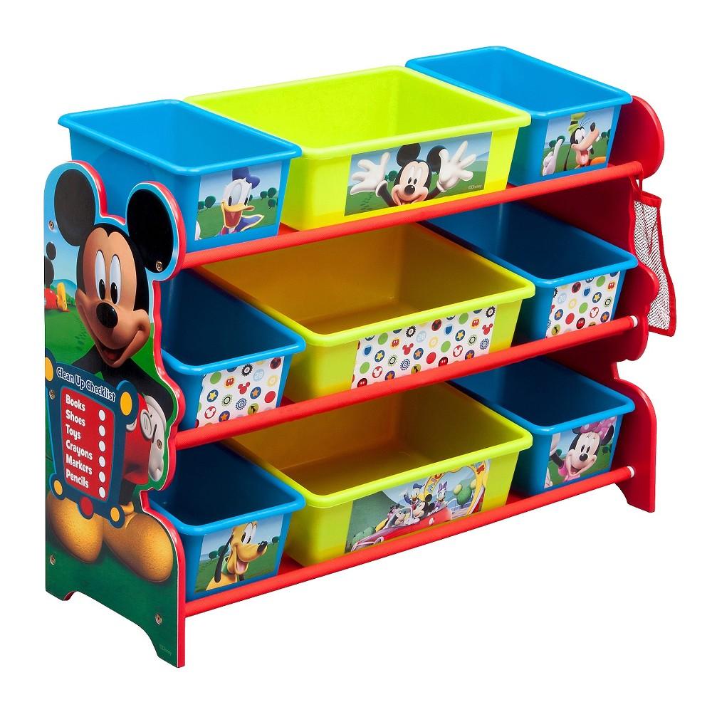 Image of 9 Bin Plastic Toy Organizer Disney Mickey Mouse - Delta Children