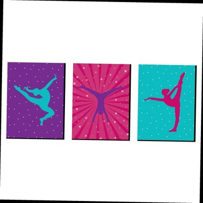 Big Dot of Happiness Tumble, Flip and Twirl - Gymnastics - Sports Themed Wall Art, Kids Room & Game Room Decor - 7.5 x 10 inches - Set of 3 Prints