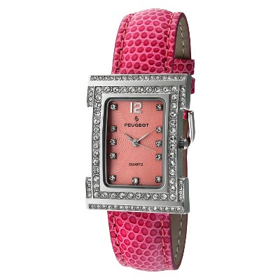 Peugeot Women's Leather Strap With Crystal Dial Watch - Pink