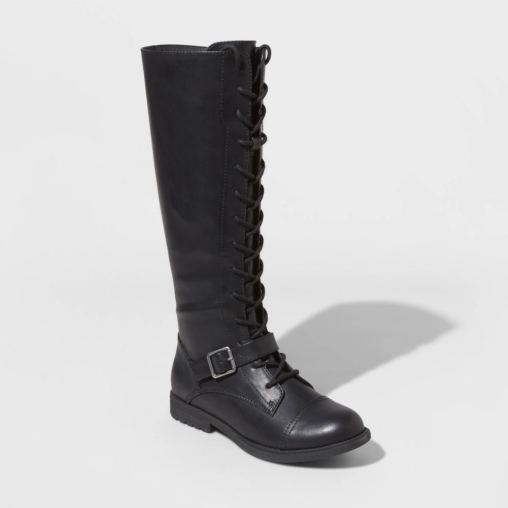 Image of Women's Magda Faux Leather Lace-Up Buckle Riding Boots - Universal Thread Black 5