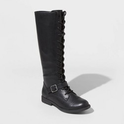 Women's Magda Faux Leather Lace Up Buckle Riding Boots - Universal Thread™