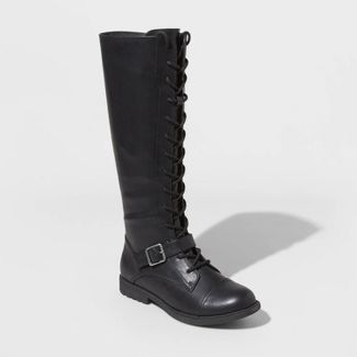 Women's Magda Faux Leather Lace-Up Buckle Riding Boots - Universal Thread™ Black 6.5