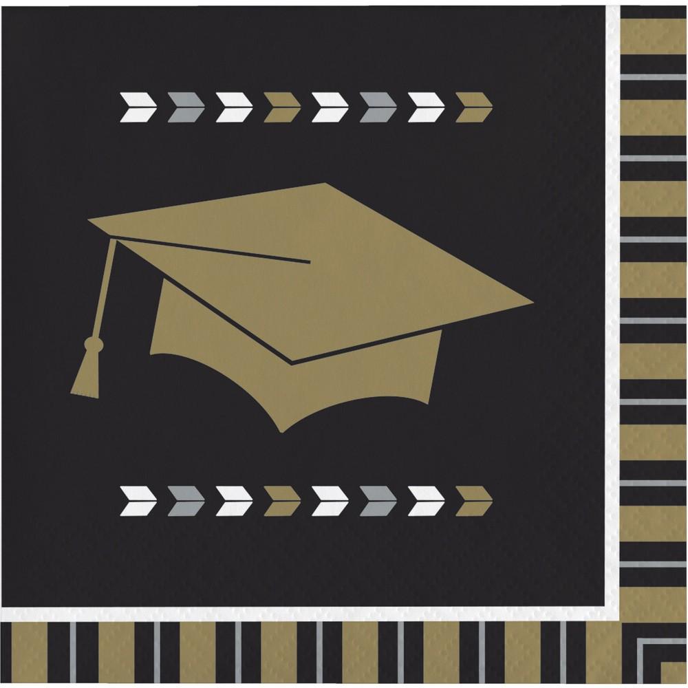 Image of 16ct Silver And Gold Glitz Graduation Beverage Napkins