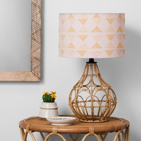 Rattan Table Lamp Pink Shade Opalhouse Target