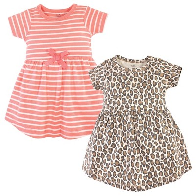 Touched by Nature Baby and Toddler Girl Organic Cotton Short-Sleeve Dresses 2pk, Leopard