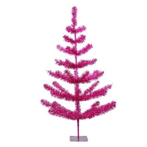 Christmas Tree Tinsel.Northlight 3 Unlit Artificial Christmas Tree Fuchsia Pink Twig Tinsel Pine