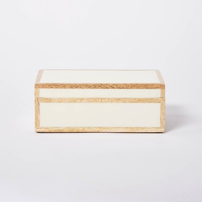"8"" x 5"" Wood Edge Trim with Resin Inlay Decorative Box Ivory - Threshold™ designed with Studio McGee"