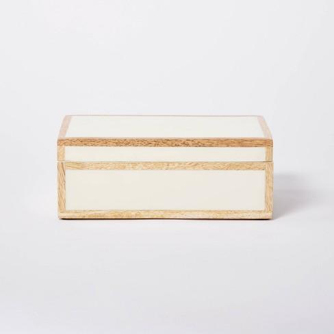 "8"" x 5"" Wood Edge Trim with Resin Inlay Decorative Box Ivory - Threshold™ designed with Studio McGee - image 1 of 4"
