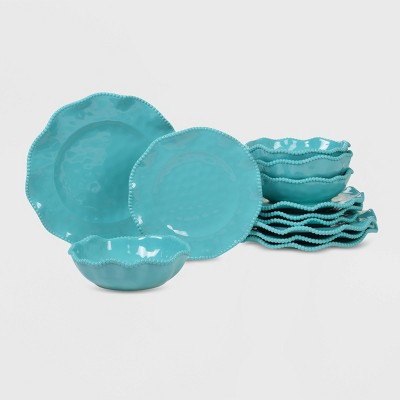 12pc Melamine Perlette Dinnerware Set Teal - Certified International