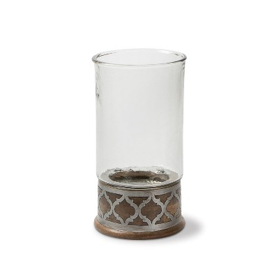 GG Collection Wood and Inlay Metal Heritage Collection 15.5-Inch Tall Candleholder