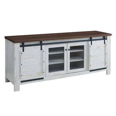 "70"" Bennington Rustic Sliding Door Buffet Table Sideboard White - Modway"