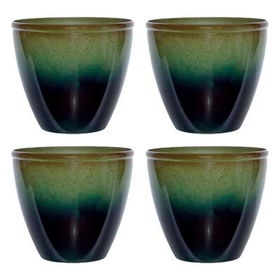 Suncast Seneca 16 Inch Decorative Resin Flower Planter Pot, Green/Blue