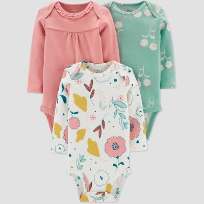 Little Planet Organic by Carters Baby Girls' 3pk Floral Bodysuits - Green 6M