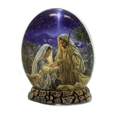 """Stony Creek 5.5"""" The Nativity Oval Orb W/Base Baby Jesus Pre-Lit Electric  -  Novelty Sculpture Lights"""