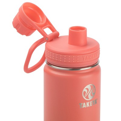 Takeya 18oz Actives Insulated Stainless Steel Water Bottle with Spout Lid - Coral