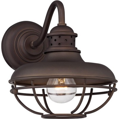 """Franklin Iron Works Rustic Outdoor Wall Light Fixture Farmhouse Bronze 9"""" Caged for Exterior House Deck"""