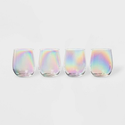 14oz 4pk Plastic Iridescent Stemless Wine Glasses - Sun Squad™