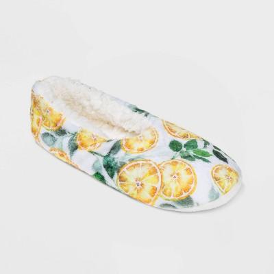 Women's Watercolor Lemon Cozy Pull-On Slipper Socks - White/Yellow
