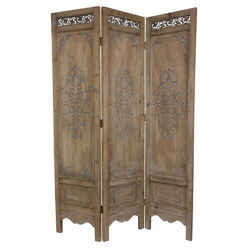 6 ft. Tall Antiqued Scrollwork Room Divider - Oriental Furniture - image 1 of 3